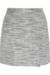 J.Crew Origami Wrap Effect Metallic Tweed Mini Skirt Gray