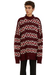 Raf Simons Oversized Jacquard Sweater Burgundy