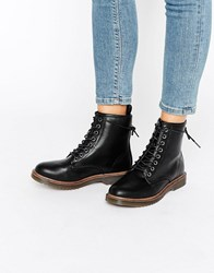 New Look Lace Up Ankle Biker Boots Black
