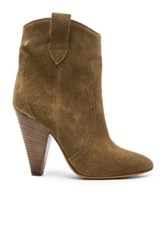 Etoile Isabel Marant Roxann Velvet Booties In Green