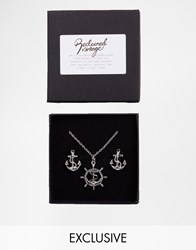 Reclaimed Vintage Anchor Cufflinks And Necklace Gift Set Silver