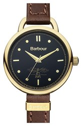 Women's Barbour 'Heritage' Strap Watch 30Mm Brown Black Gold