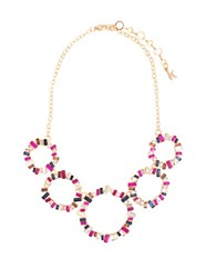 Kensie Studded Ring Frontal Statement Necklace Gold