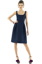 Women's Alfred Sung Scoop Neck Dupioni Fit And Flare Dress Midnight