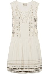 Sea Crochet Trimmed Embroidered Silk And Linen Blend Mini Dress Cream