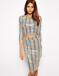 Tfnc Crop Top In Scallop Sequins Multi