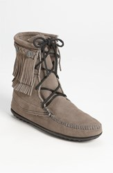 Women's Minnetonka 'Double Fringe Tramper' Boot Grey