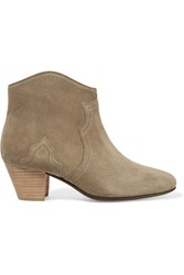 Isabel Marant Etoile The Dicker Suede Ankle Boots Army Green Beige