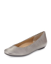 Neiman Marcus Stansie Scalloped Leather Flat Pewter Prl