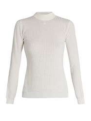 Courreges Ribbed Knit Wool Sweater Off White