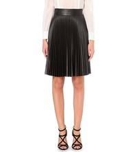 Karen Millen Pleated Faux Leather Midi Skirt Brown