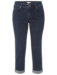 White Stuff Southern Ocean Spot Cropped Trousers Dark Denim