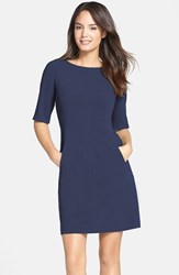 Petite Women's Tahari Seamed A Line Dress Navy