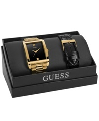 Guess Watch Set Men's Diamond Accent Gold Tone Stainless Steel Bracelet And Black Croco Grain Leather Strap 41X37mm U0206g1