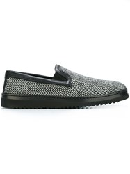 Dolce And Gabbana Chevron Knit Slip On Sneakers Black