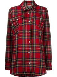 Off White Checked Shirt Red
