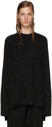 Baja East Black Cashmere Ribbed Sweater