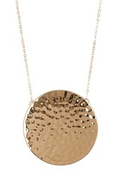 14Th And Union Hammered Disc Pendant Necklace Metallic