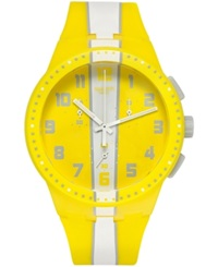 Swatch Unisex Swiss Chronograph Amorgos White Stripe Yellow Silicone Strap Watch 42Mm Susj100