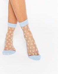 Asos Sheer Star Glitter Ankle Socks Blue