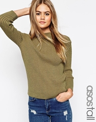 Asos Tall Turtle Neck Jumper In Rib Olive