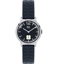 Orla Kiely Ok2005 Frankie Leather And Stainless Steel Watch Black