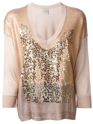 Nude Sequin V Neck Sweater
