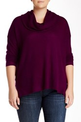 Susina Long Sleeve Side Slit Cowl Neck Cashmere Sweater Plus Size Purple