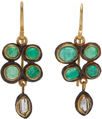 Judy Geib Colombian Emerald And Herkimer Diamond Earrings Colorless