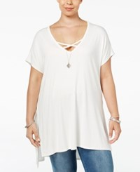 Soprano Trendy Plus Size Strappy Tunic T Shirt White