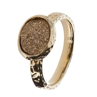 Etrusca Silver Drusy 18Ct Hammered Gold Plated Ring