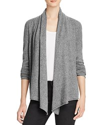 Aqua Cashmere Drape Front Cardigan Heather Grey Light Grey Twist