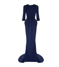 Stella Mccartney Ruched Waist Half Sleeve Gown Female Blue