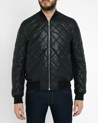 Paul Smith Black Quilted Leather Bomber Jacket