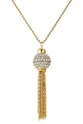 Kenneth Jay Lane Jeweled Necklace With Chain Tassel Gold