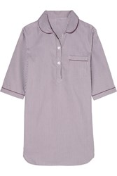 Bodas Verbier Striped Swiss Cotton Nightdress Merlot