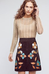 Anthropologie Patchworked Suede Mini Skirt Black Motif