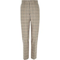 River Island Mens Grey Check Linen Blend Smart Trousers