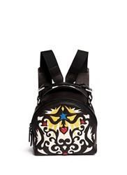 Msgm Embroidery Embossed Leather Backpack Black Multi Colour