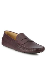 Tod's Caviar Penny Driver Loafers Burgundy
