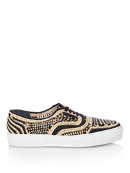 Robert Clergerie Teba Woven Raffia Low Top Trainers