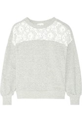 Clu Lace Trimmed Metallic Cotton Blend Jersey Sweatshirt Silver