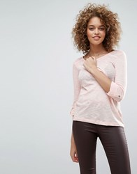 Only Jess 3 4 Sleeve Tee Peach Whip Pink