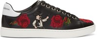 Dolce And Gabbana Black Cowboy Roses Sneakers