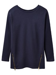 Joules Milton Side Zip Ribbed Sweatshirt French Navy