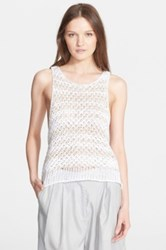 Rag And Bone 'Lizette' Stripe Loose Knit Tank White