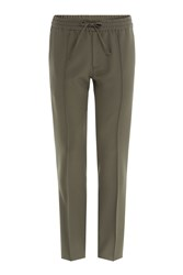 Valentino Tapered Wool Pants With Elasticated Waist Green