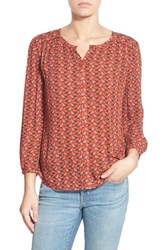 Hinge Women's Print Button Front Blouse Red Ochre Hummingbirds