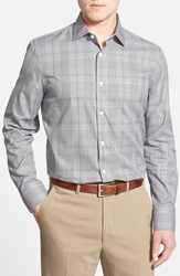 John W. Nordstrom Regular Fit Glen Plaid Sport Shirt Grey Phantom Glen Plaid