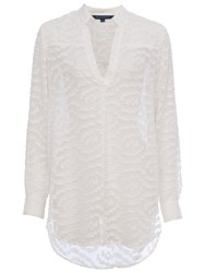 French Connection Ruby Sheer Pull Over Shirt Winter White